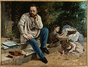 Pierre-Joseph Proudhon - Proudhon and his children, by Gustave Courbet, 1865