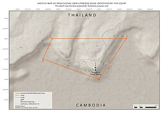 Cambodian–Thai border dispute - Image: Provisional demilitarised zone icj 18 july 2011 001