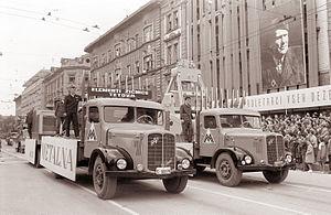 Fabrika automobila Priboj - FAP 6G on May Day parade in Ljubljana, 1961.