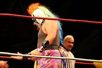 Triplemanía XXIV - Psycho Clown, risking his clown mask in the main event.