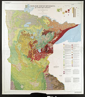 Geology of Minnesota - Map of soils and sediments constituting Quaternary geology of Minnesota.
