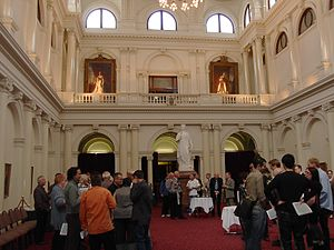Parliament House, Melbourne - Queen's Hall in Parliament House, with a statue of Queen Victoria