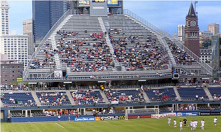 End zone of Qwest field with blue seats and grey aisles Qwest field end zone seats.jpg