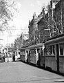 Rákóczi út az Astoria felől nézve, ideiglenes villamos végállomás a metró építése miatt a Rákóczi út 5. előtt. Fortepan 17064.jpg