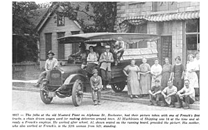 French's - 1917 photo of French's Staff on Alphonse Street in Rochester.  Source The Pennant, March, 1964.