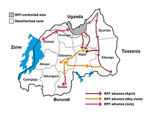 Rwandan Civil War - Map showing the advance of the RPF during the Rwandan genocide of 1994