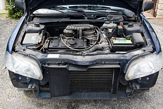 Radiator - Car engine bay, with radiator in front