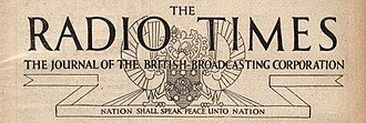 "BBC - Masthead from the edition of 25 December 1931 of the Radio Times, including the BBC motto ""Nation shall speak peace unto Nation"""