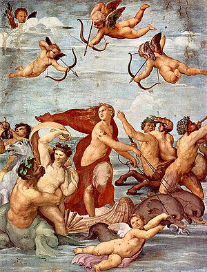 Ο Θρίαμβος της Γαλάτειας, τοιχογραφία, 295 × 224 εκ., Βίλλα Φαρνεζίνα, Ρώμη