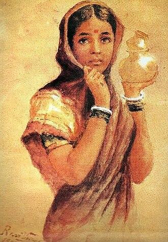 Anandabhadram - Image: Raja Ravi Varma, The Milkmaid (1904)
