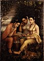 Raja Ravi Varma - Shakuntala writing a love letter on a lotus leaf.jpg