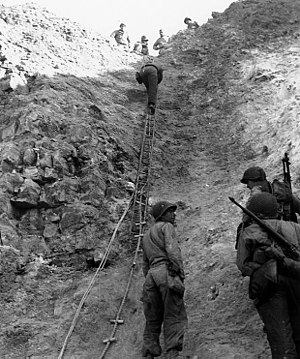 75th Ranger Regiment (United States) - 2nd Ranger Battalion troops use rope ladders to scale Pointe du Hoc.