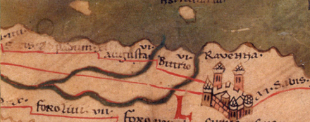 The city of Ravenna in the 4th century as shown on the Peutinger Map Ravenna(Peutinger Map).png