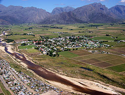 Aerial view of Rawsonville and the Smalblaar River, looking towards Du Toitskloof Pass to the west