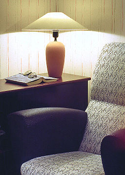 Reading corner with armchair and lamp