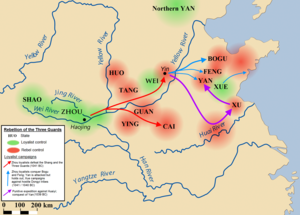 Rebellion of the Three Guards - Approximate areas under Zhou loyalist (green) and rebel control (red). Loyalist reconquest of North China Plain (dark red), Zhou conquest of western Shandong (light blue), and loyalist campaigns against last rebel strongholds (purple).