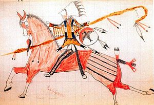 "Ledger art - The warrior ""Low Dog"" by Red Dog, 1884 ledger art"