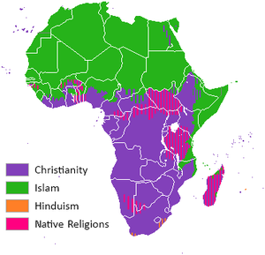 Islamization of the Sudan region - The geographic division between the majority religions of Islam and Christianity in contemporary Africa