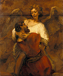 rembrandt, jacob, wrestles, angel, 1659, dreamlike, ecstasy, fight, struggle, embrace, caress, tender, berthold