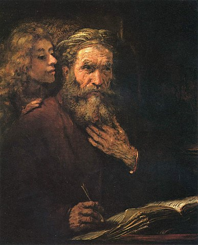 «Матфей и ангел» (1661). Возможно, моделью для ангела являлся Титус.