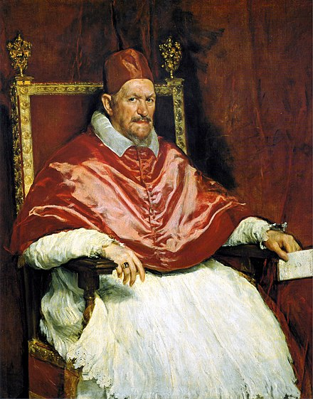 Portrait of Innocent X, by Diego Velazquez from around 1650, is considered by many art critics as the finest portrait ever created. Retrato del Papa Inocencio X. Roma, by Diego Velazquez.jpg