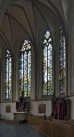 Rheinberg (North Rhine-Westphalia, Germany) – Catholic Saint Peter Church – outer stained glass windows by Egbert Lammers