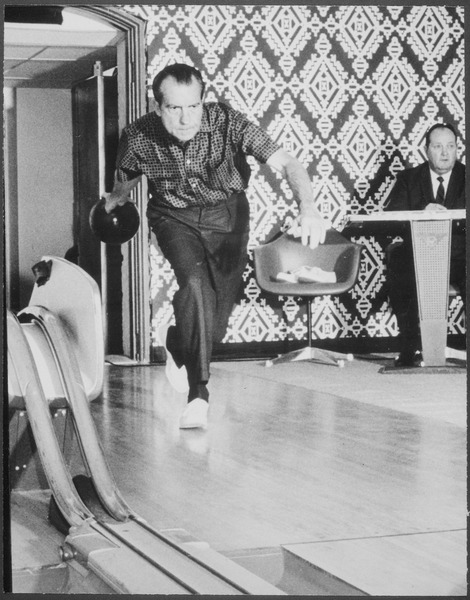 Richard M. Nixon bowling at the White House bowling alley - NARA - 194671