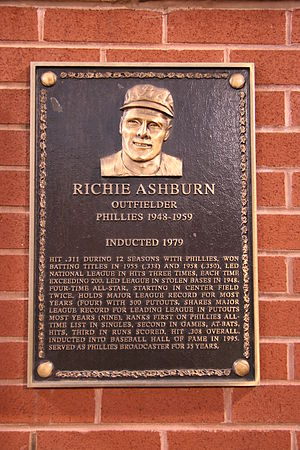 Richie Ashburn - Ashburn's plaque from the Philadelphia Baseball Wall of Fame