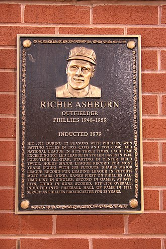 Whiz Kids (baseball) - Richie Ashburn, center fielder, inducted 1979