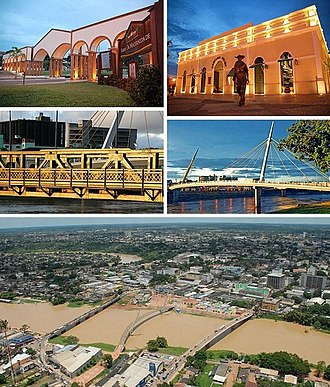 Rio Branco, Acre - Rio Branco, Top left:Maternidade Park, Top right:Mercado Velho (Old Market) theme park, Middle left:JK Bridge, Middle right:A walkway in Passarela Joaquim Macedu theme park, Bottom:Panorama view of Acre River and downtown Benjamin Constant area
