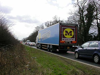 English: Road Works on the A43. The road is re...