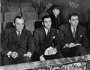 Rodgers (left) and Hammerstein (right), with Irving Berlin (middle) and Helen Tamiris, watching auditions at the St. James Theatre