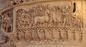 Roman military engineering - Roman Legionaries crossing the Danube River by pontoon bridge during the Marcomannic Wars, as depicted in relief on the column of Emperor Marcus Aurelius (r. 161-180 AD) in Rome, Italy