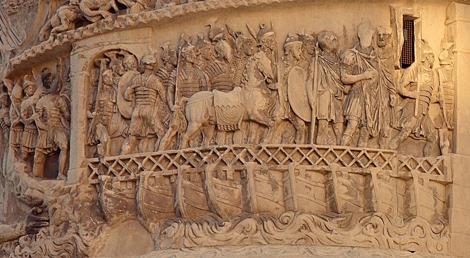 Roman Pontoon Bridge, Column of Marcus Aurelius, Rome, Italy
