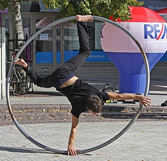 Cyr wheel - Street performer during Sirkusmarkkinat at Kerava in 2013 (Circus Festival)