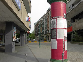 Rose (color) - A rose-colored Litfaß column on the Rosenstrasse in Berlin today commemorates the Rosenstrasse protest (the building in which the detainees were held no longer exists).