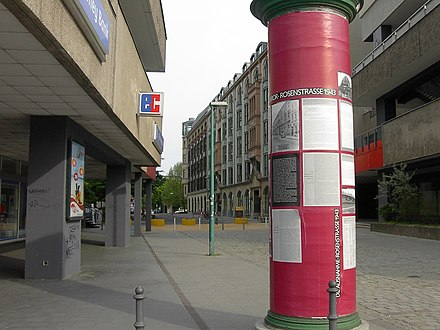 Berlin's Rosenstrasse, where the only public protest against the deportation of German Jews took place in 1943 Rosenstrasse Berlin.jpg