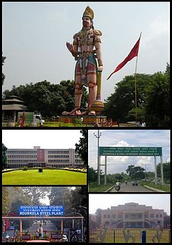 Anticlockwise from top left: Hanuman Vatika, National Institute of Technology, Rourkela, Rourkela Steel Plant, Banja Bhawan and Entrance Highway to Rourkela Main City.
