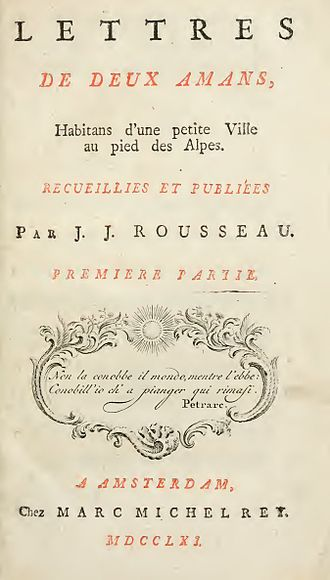 Marc-Michel Rey - First edition title page from Rousseau's Julie, or the New Heloise (1761)