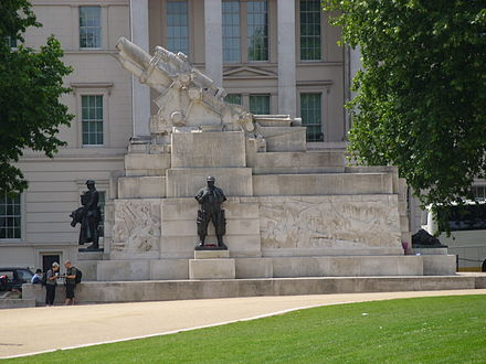 The Royal Artillery Memorial in London, featuring an oversized stone replica of a BL 9.2 inch Mk I howitzer Royal Artillery Memorial, outside Aspley House, London.JPG