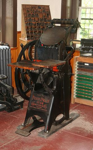 Printing press at the {{w|Roycroft}} Community...