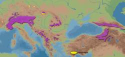 Udbredelsesområde (lilla = sædvanlig/infødt;   gul = introduceret)