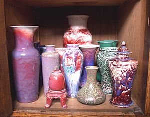 Ruskin Pottery - A selection of wares from the Ruskin Pottery in 'high fired' reduction glazes