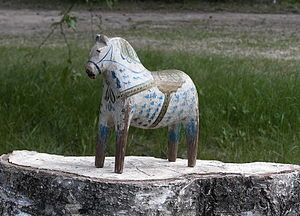 Dalecarlian horse - A Dala horse painted by Rytter Olof Matsson, Risa, around 1910.