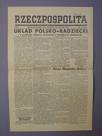 Rzeczpospolita (newspaper) - Rzeczpospolita newspaper cover from 1945