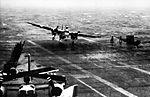 S-2 of VS-27 landing in USS Essex (CVS-9) in heavy weather c1961.jpg
