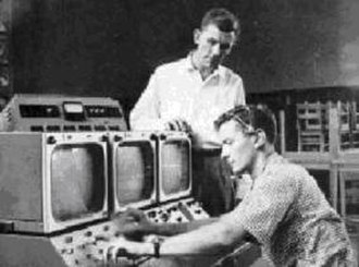 Dreher High School - R. Lynn Kalmbach (L) and Dewey Gentry (R), teachers at Dreher High School, working on the first SCETV broadcast in 1958 at Dreher