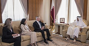 Foreign relations of Qatar - Secretary of Defense James Mattis meets with Qatar's Emir Sheikh Tamim bin Hamad Al Thani at the Sea Palace in Doha, Qatar, April 2017