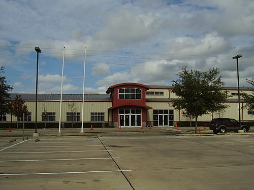 SER-Ninos Charter School, a K-8 bilingual public school in Houston, Texas. Bilingual education is popular in school districts with large numbers of Spanish-speakers. SER-Ninos Charter School.jpg