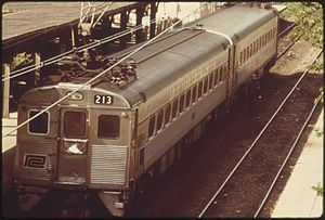 Silverliner - Penn Central operated Silverliner II coupled to a Silverliner III at Chestnut Hill West in 1974.